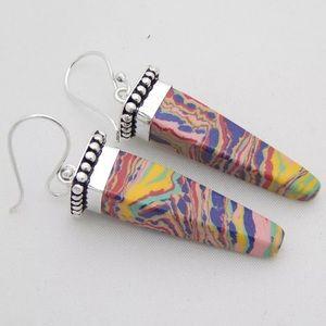 Jewelry - Rainbow Calsilica Silver Earrings